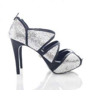 Pour La Victoire Silver Glitter Heels
